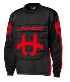 Floorball goalie jersey UNIHOC GOALIE SWEATER SHIELD black/neon red