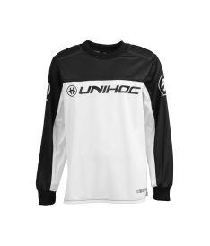 Floorball goalie jersey UNIHOC GOALIE SWEATER KEEPER black/white