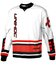UNIHOC GOALIE SWEATER FEATHER white/neon red XL