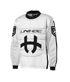 Floorball goalie jersey UNIHOC GOALIE SWEATER SHIELD white/black