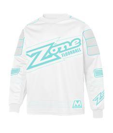 Floorball goalie jersey ZONE GOALIE SWEATER MONSTER white/light turquoise