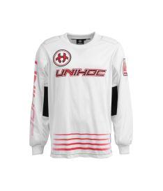 Floorball goalie jersey UNIHOC GOALIE SWEATER INFERNO white/neon red